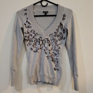 Express XS Sequined Leopard Spot Sweater Silver